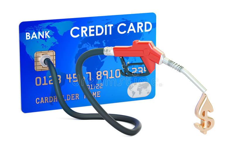 Kreditkort med dysan för bränslepump vektor illustrationer