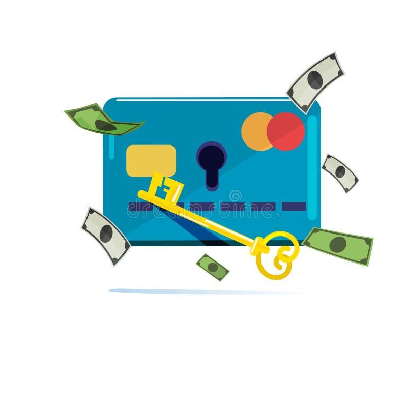 Kreditkort med hålet och tangenten som låser pengar upp dataintrångpengar Se vektor illustrationer