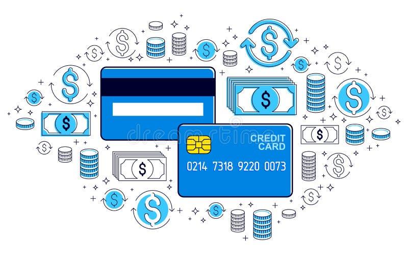 Kreditkort och finansiell symbolsuppsättning och att packa ihop kreditering eller insättning-, shopping- och marknadsplatsbetalni vektor illustrationer