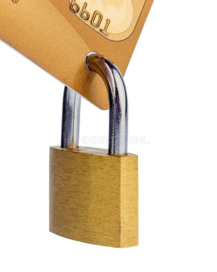 Kreditkort och padlock royaltyfri fotografi