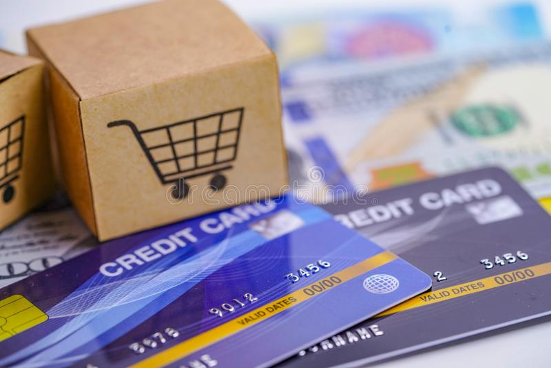 Kreditkort- och US dollarsedlar med asken för shoppingvagn: Finansiell utveckling, redovisning, statistik, investering royaltyfri bild