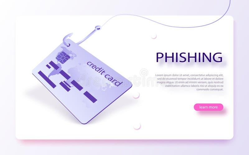 Kreditkort på fiskekroken Scam och phishing begrepp Dataintrångkreditkort eller personlig information royaltyfri illustrationer