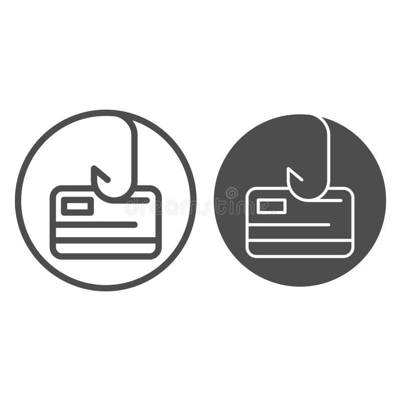 Kreditkort på kroklinje och skårasymbol Illustration för Phishing kreditkortvektor som isoleras på vit Hacka översikten royaltyfri illustrationer