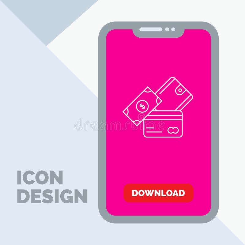 kreditkort pengar, valuta, dollar, plånboklinje symbol i mobilen för nedladdningsida royaltyfri illustrationer