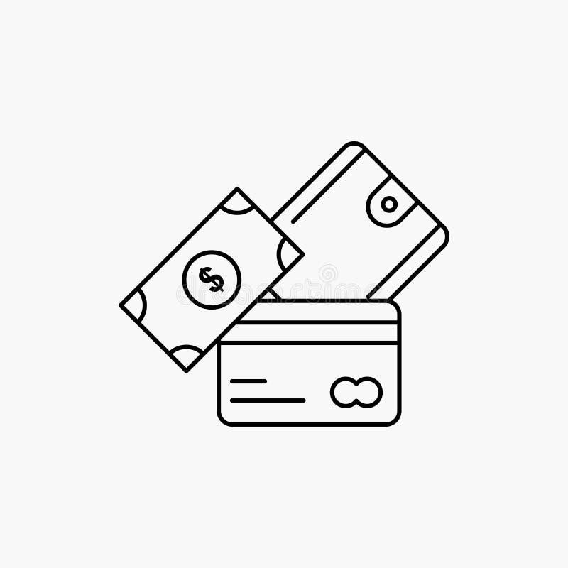 kreditkort pengar, valuta, dollar, pl?nboklinje symbol Vektor isolerad illustration royaltyfri illustrationer