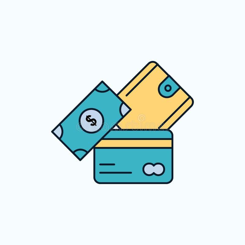 kreditkort pengar, valuta, dollar, plan symbol för plånbok gr?nt och gult tecken och symboler f?r website och mobil appliation royaltyfri illustrationer
