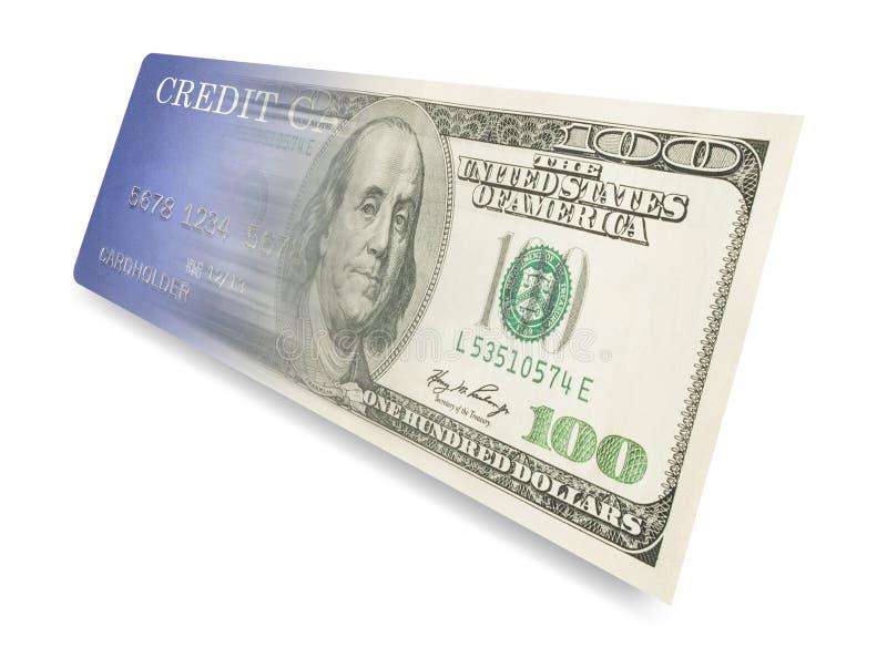 Kreditkort som blandar in i pengar royaltyfri illustrationer