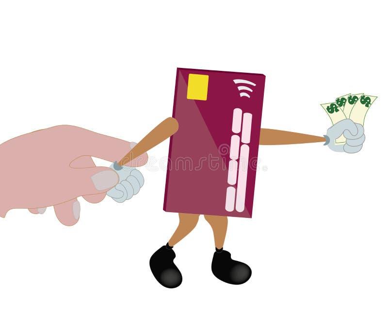 Kreditkort som försöker till flykten royaltyfri illustrationer