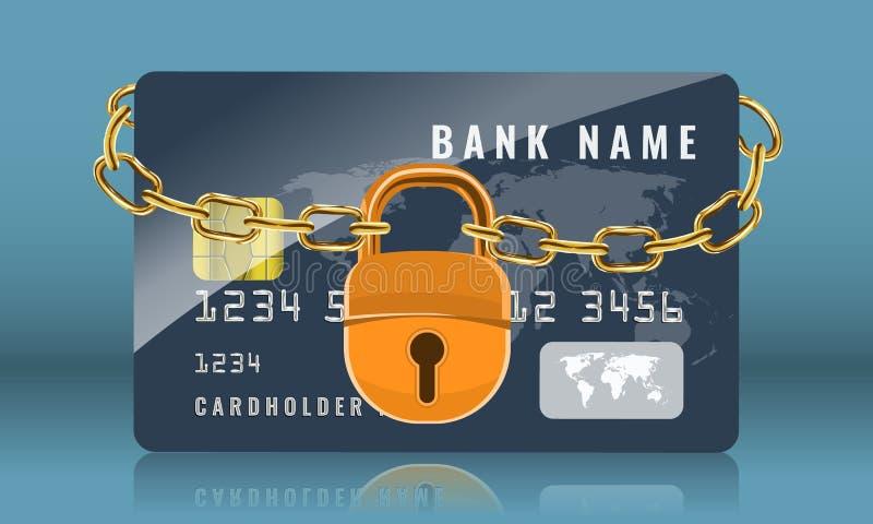 Kreditkort som låsas med den guld- kedjan och den guld- hänglåset Skydds- och s?kerhetsbegrepp ocks? vektor f?r coreldrawillustra stock illustrationer