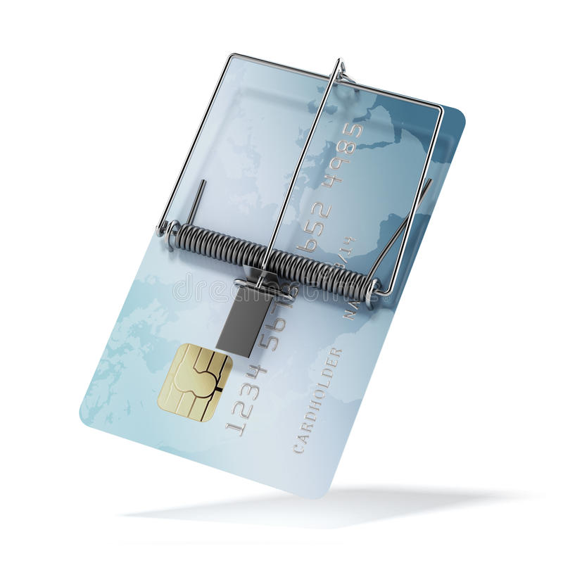 Kreditkort som mousetrapen royaltyfri illustrationer