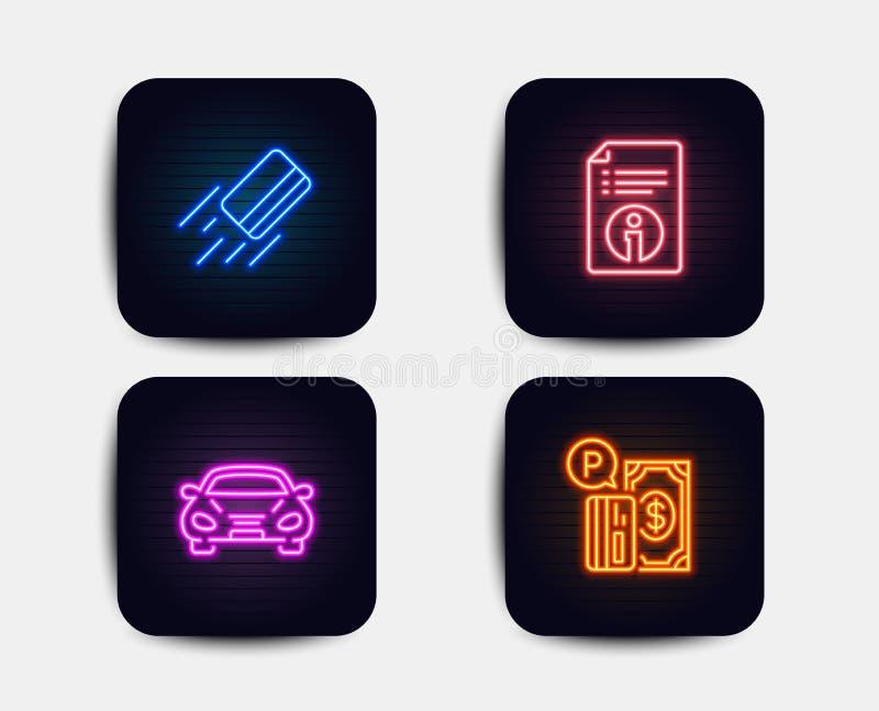 Kreditkort, teknisk information och bilsymboler Parkeringsbetalningtecken Bankbetalning, dokumentation, transport vektor stock illustrationer