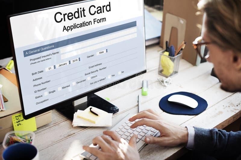 Kreditkortansökningsblankettbegrepp royaltyfri foto