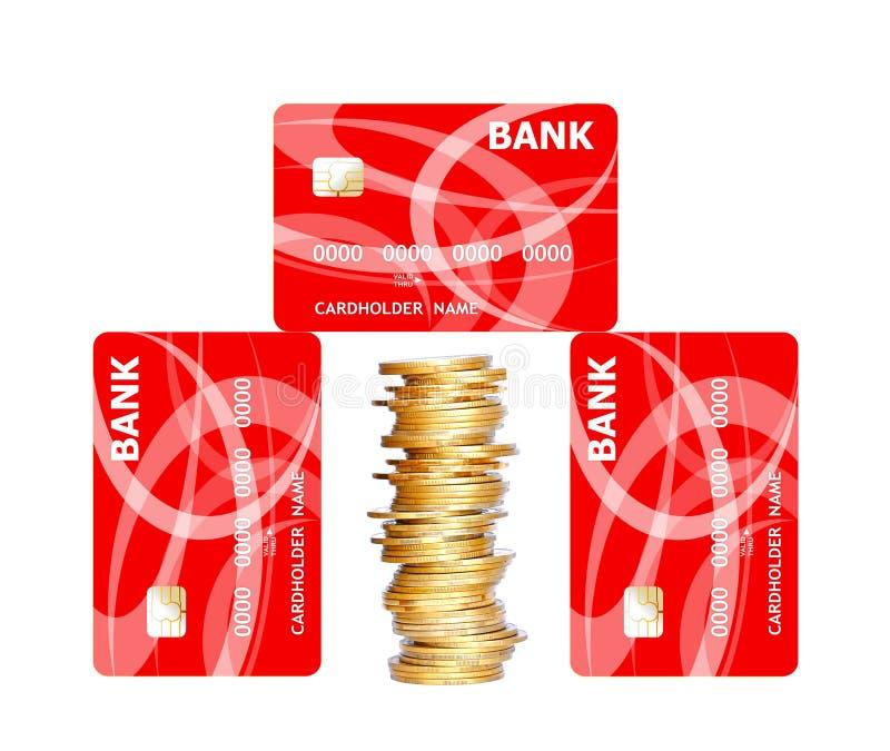 Kreditkortar och guld- mynt som isoleras på vit royaltyfria foton