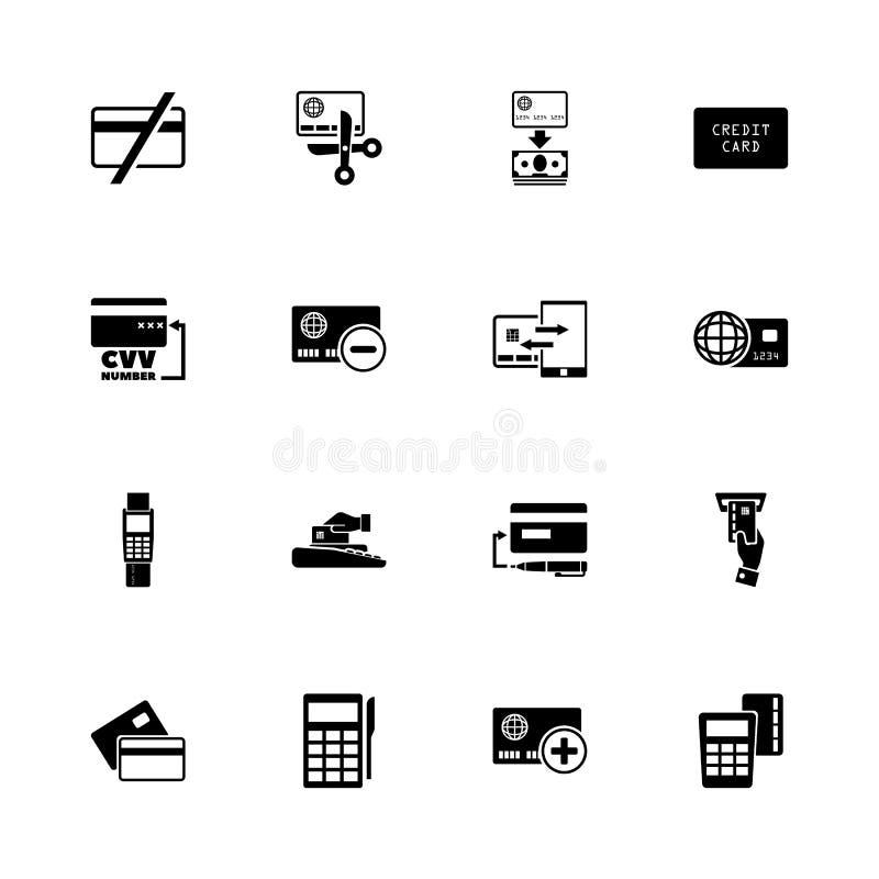 Kreditkortar - plana vektorsymboler stock illustrationer