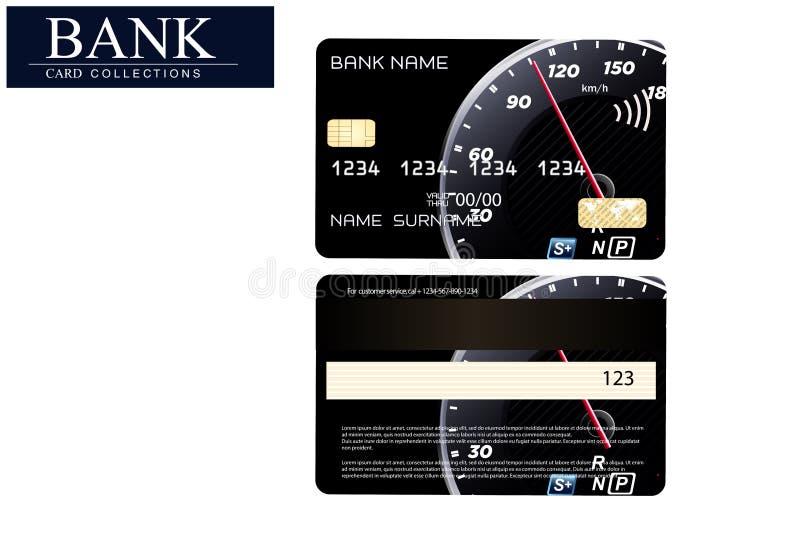 Kreditkorten med en hastighetsmätarelogo Kreditkort av en högvärdig grupp Kreditkorten för bilägare vektor illustrationer