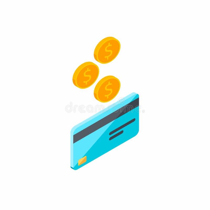 Kreditkorten tj?nar pengar som ?r isometriska, myntet, finans, kontokortet, aff?ren, vektorn, kassa f?r att f? en kontokort royaltyfri illustrationer