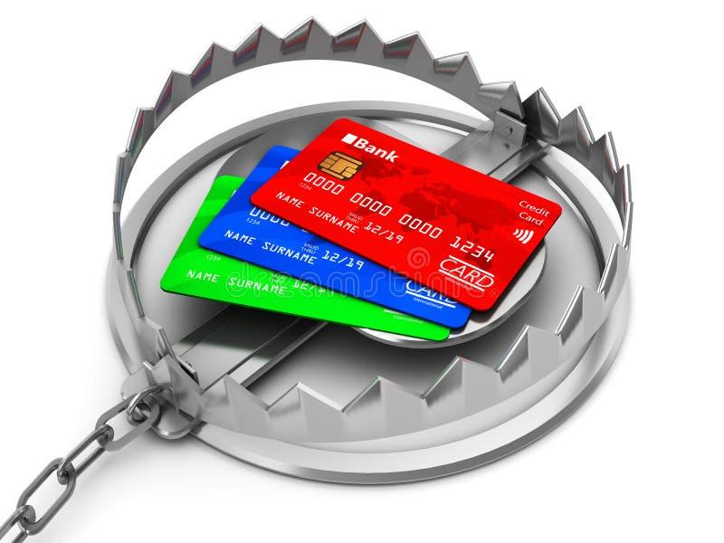 Kreditkortfälla royaltyfri illustrationer