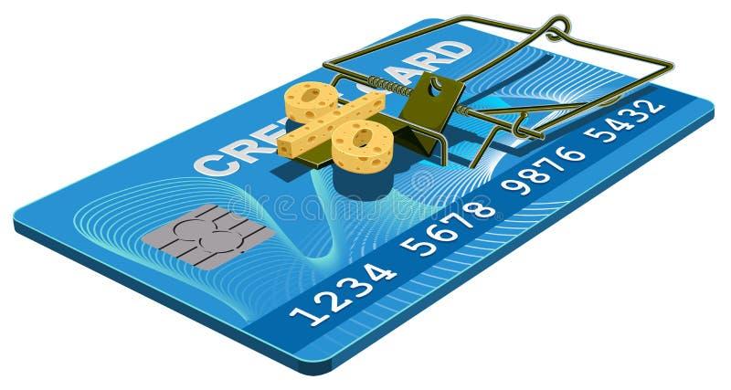 Kreditkortfälla Fri ost för bankintresse i råttfälla vektor illustrationer