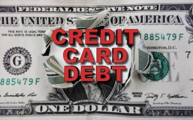 Kreditkortskulddollar arkivbilder