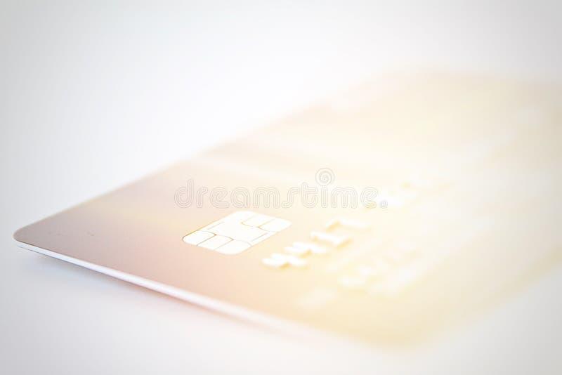 Kreditkortslut upp skott med den mjuka fokusen för bakgrund arkivfoto