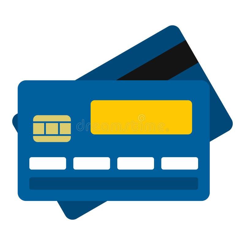 Kreditkortsymbol, lägenhetstil vektor illustrationer