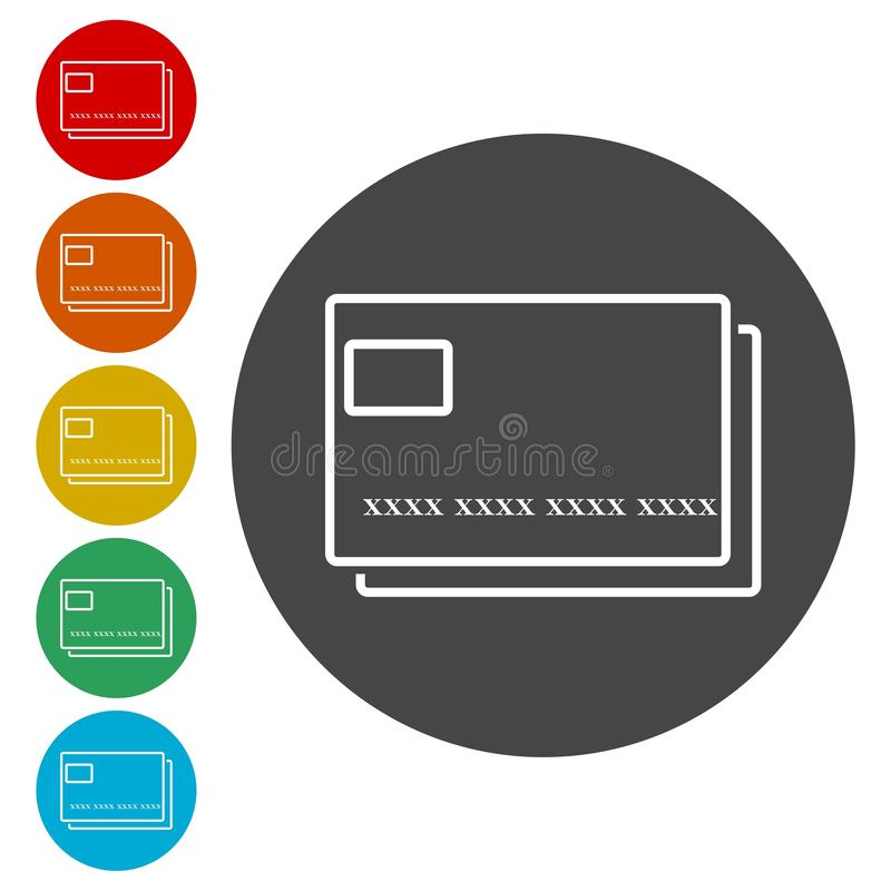 Kreditkortsymbol, pengarkortsymbol vektor illustrationer