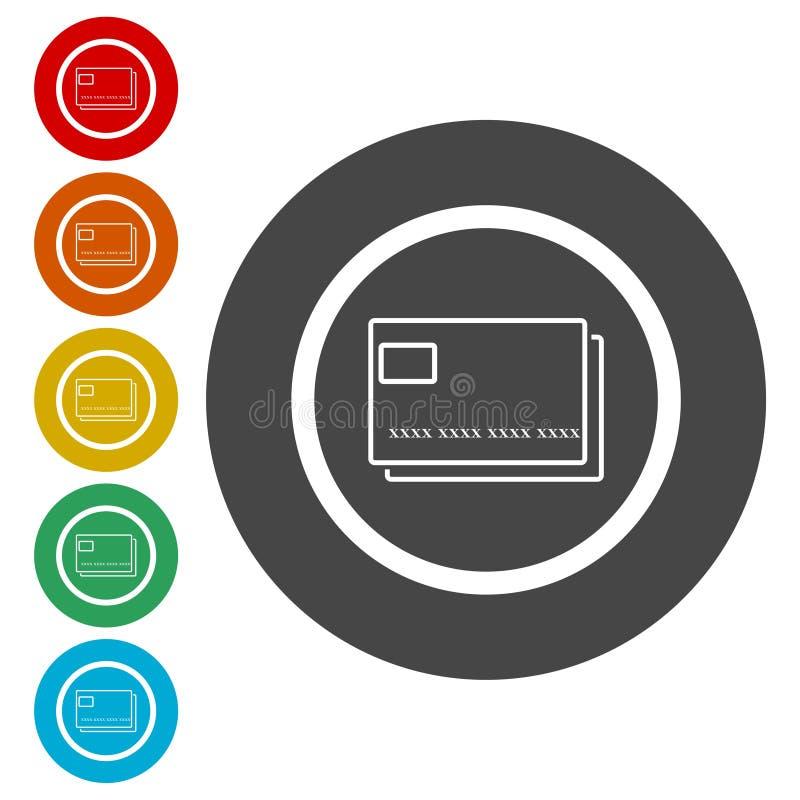 Kreditkortsymbol, pengarkortsymbol royaltyfri illustrationer