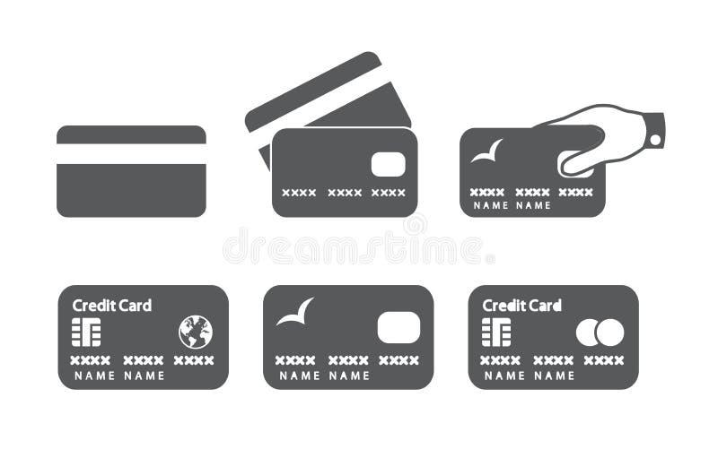 Kreditkortsymboler royaltyfri illustrationer