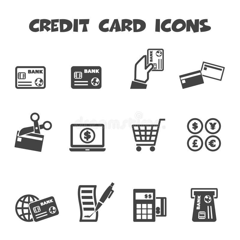 Kreditkortsymboler stock illustrationer