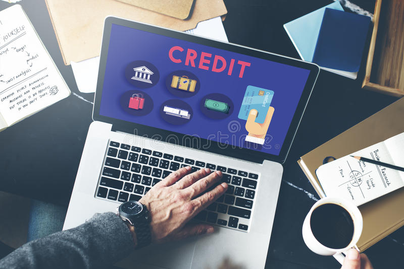 Kreditscore-Bargeldumlauf-Finanzkonzept stockfotografie