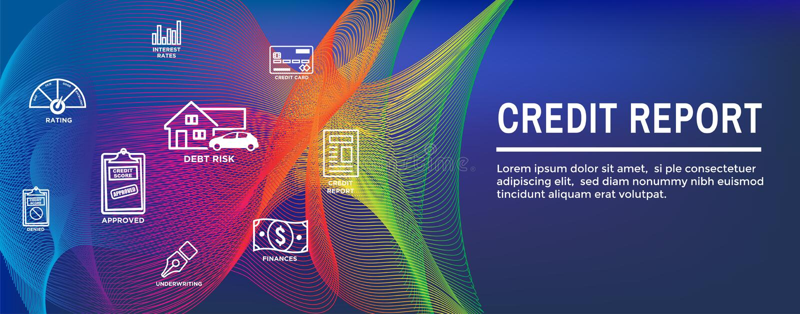 Kreditscore-Ikonen-Satz und Netz-Titel-Fahne - Diagramm-oder des Torten-Diagramm-w realistische Kreditkarte vektor abbildung