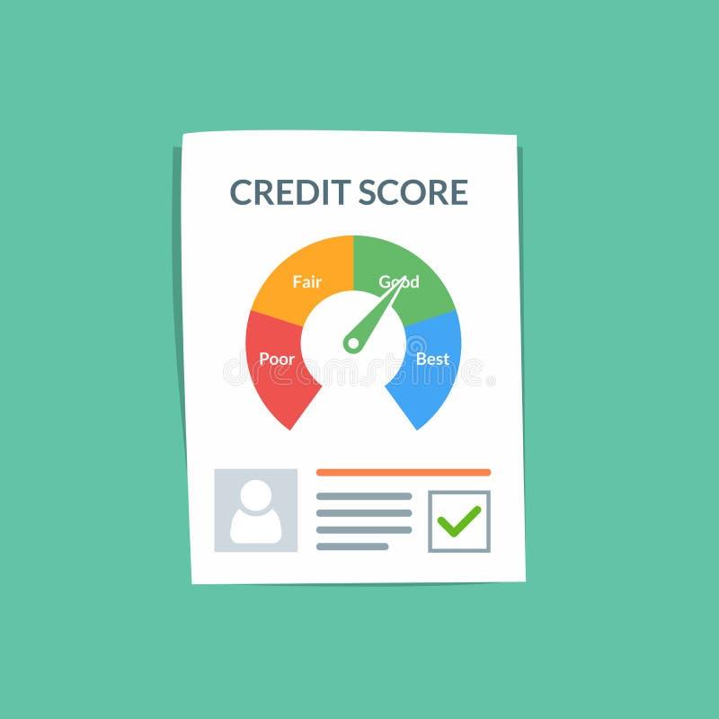 Kreditscoredokumenten-Vektorkonzept Persönliche Kreditgeschichte des Kunden auf einem Papierblatt Guter Index des Kredites lizenzfreie abbildung