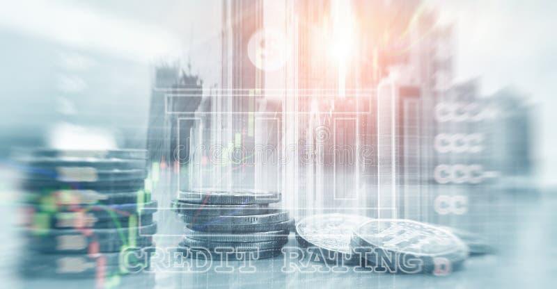 KREDITV?RDIGHET Finans, huvudbankr?relsen och investeringbegrepp fotografering för bildbyråer