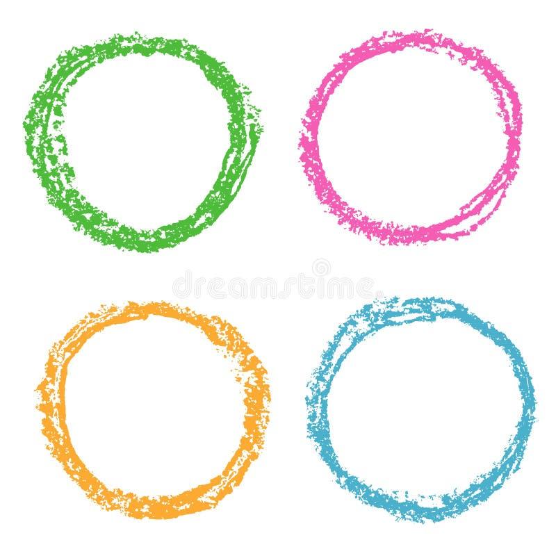 Kredka projekta barwioni round elementy na bielu ilustracja wektor