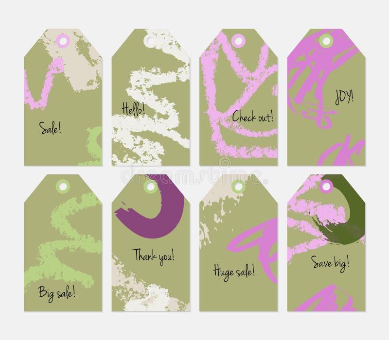 Kredka textured markier oliwnej zieleni purpur etykietki set i uderzenia ilustracji
