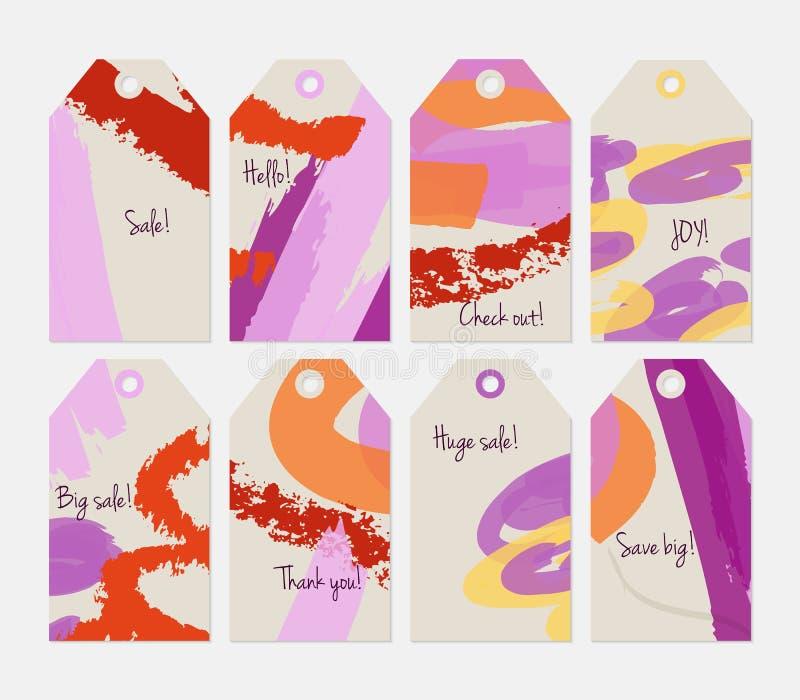 Kredka textured markiera światło i uderzenia - szary purpury etykietki set royalty ilustracja