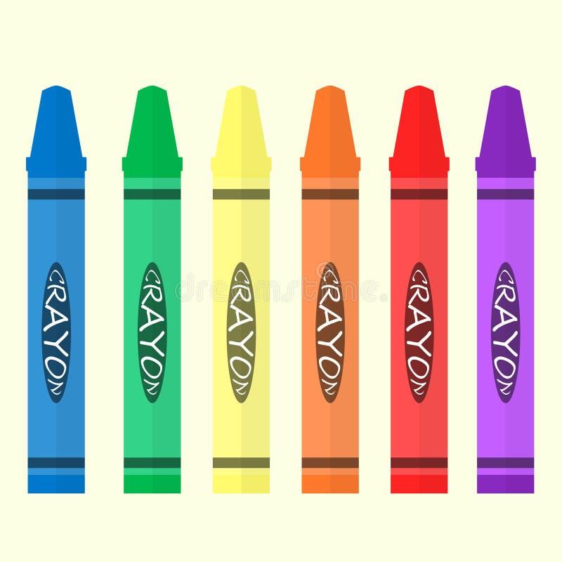 Kredki 6 koloru set royalty ilustracja