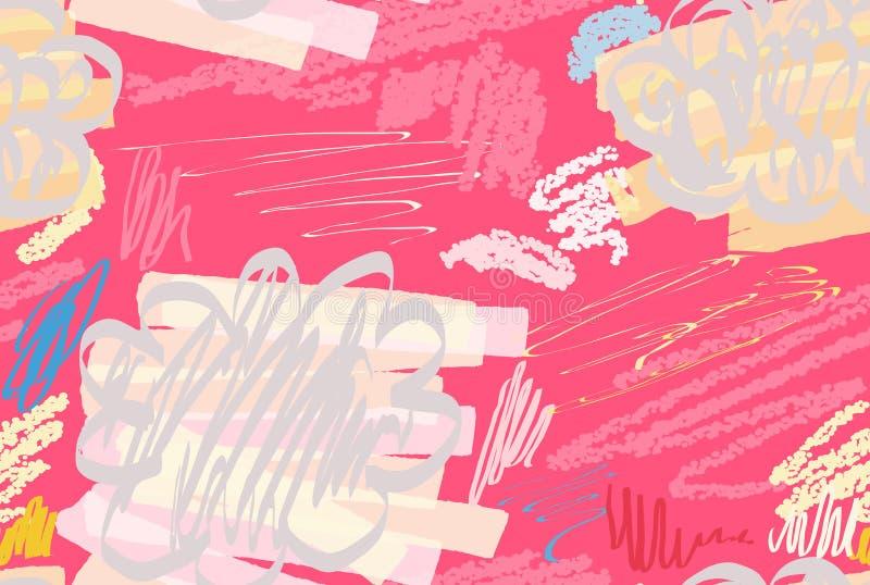 Kredki textured doodles z abstrakta markierem i chmurami szczotkują royalty ilustracja