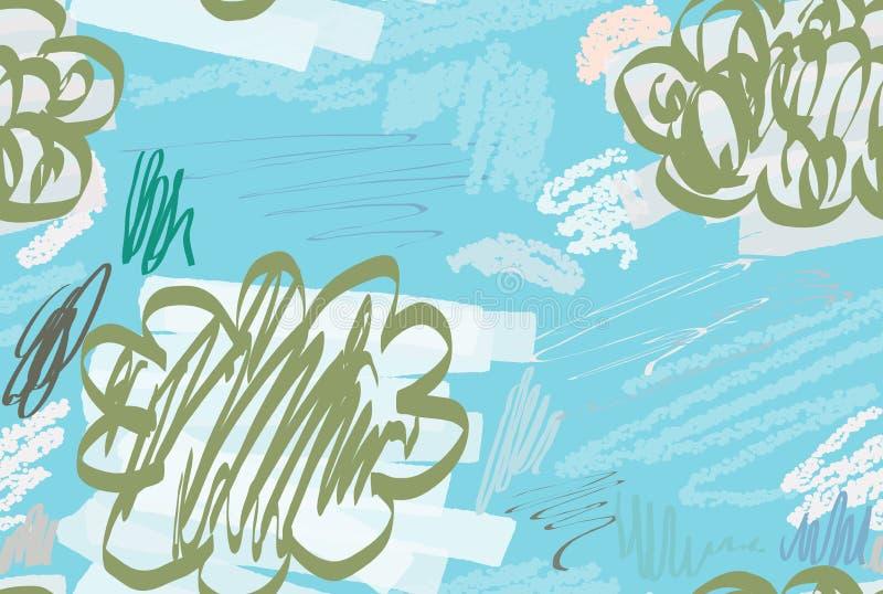 Kredki textured doodles z abstrakta markierem i chmurami szczotkują ilustracja wektor