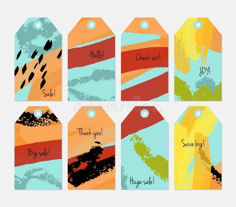 Kredki textured uderzenia i markier etykietki błękitny żółty pomarańczowy set ilustracja wektor