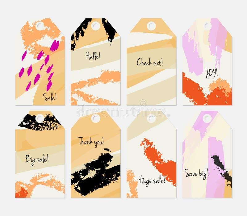 Kredki textured uderzenia i markier etykietki kremowy pomarańczowy set royalty ilustracja