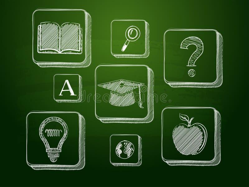 Kredowa edukacja podpisuje zielonego blackboard ilustracji