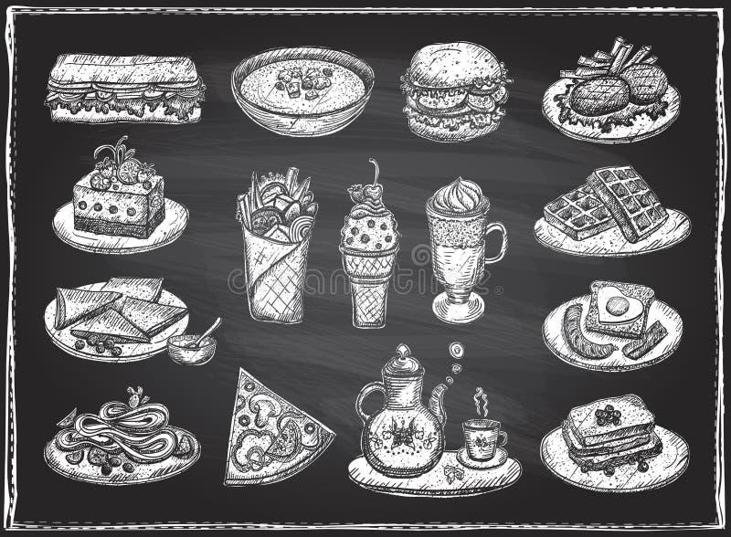 Kredowa graficzna ilustracja asortowany jedzenie, desery i napoje, ręka rysujący wektorowi symbole ustawiający royalty ilustracja