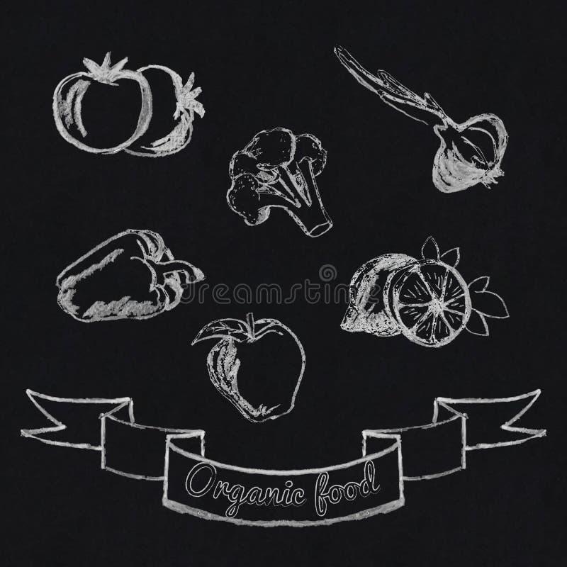 Kredowa owoc i warzywo ikona ilustracji