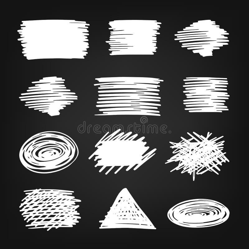 Kredowa ręka rysujący skrobanina set ilustracji