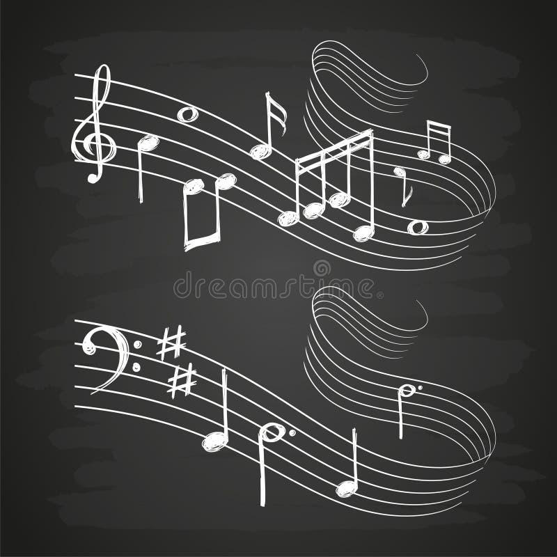 Kredowego nakreślenia muzykalna rozsądna fala z muzyk notatkami na blackboard ilustracja wektor