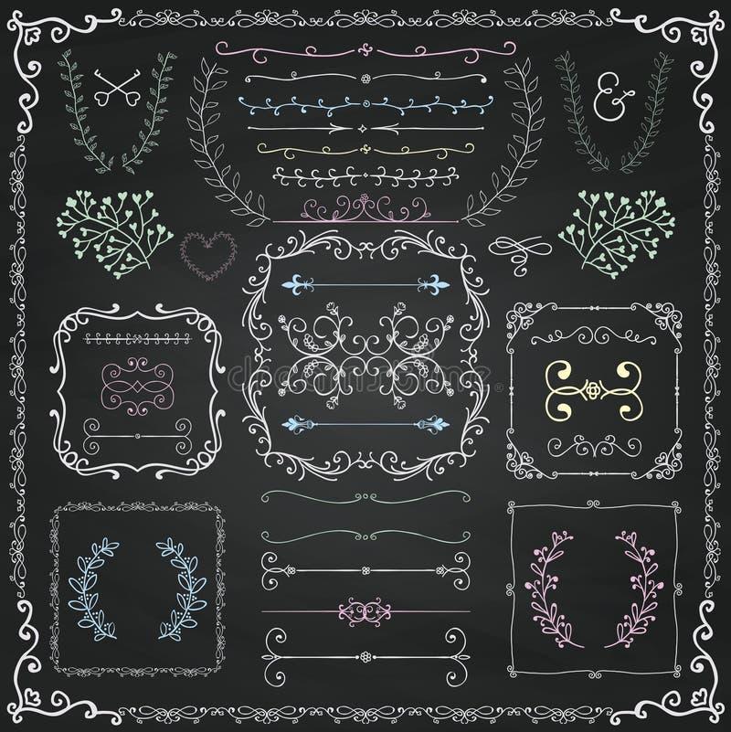 Kredowego rysunku Doodle projekta Dekoracyjni elementy royalty ilustracja