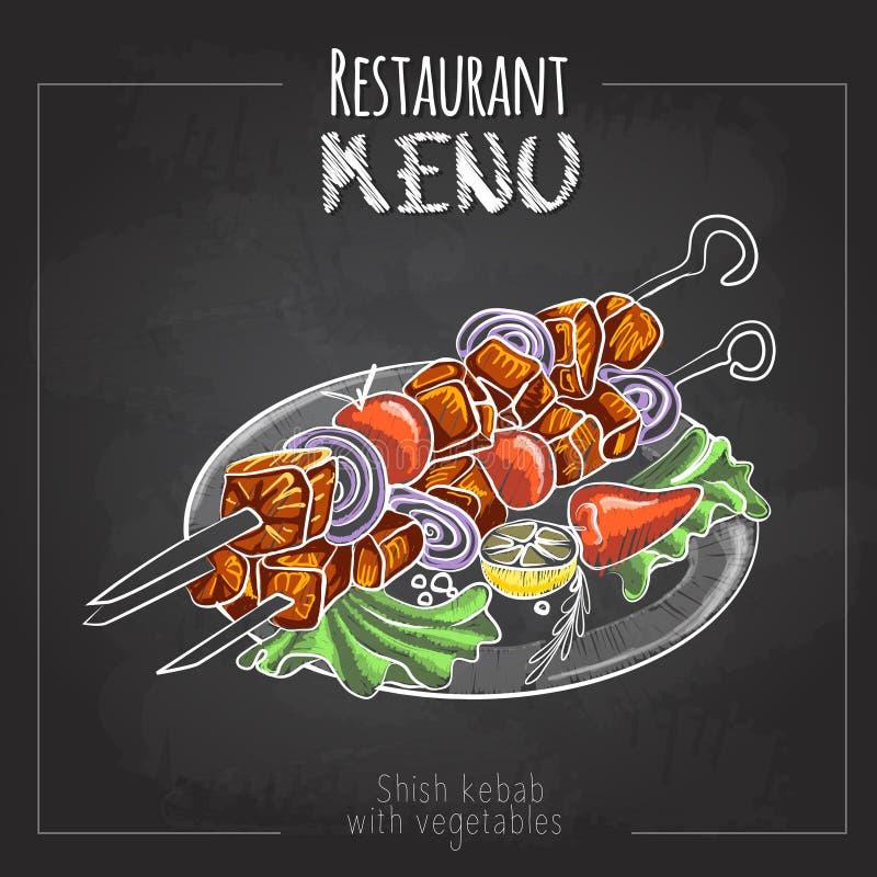 Kredowego rysunku menu projekt różna mięsa talerza wieprzowina preparted typ Shish kebab ilustracja wektor