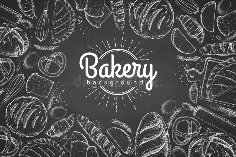 Kredowego rysunku piekarni tło Odgórny widok piekarnia produkty ilustracja wektor