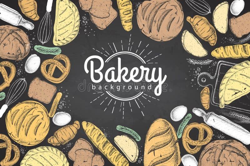 Kredowego rysunku piekarni tło Odgórny widok piekarnia produkty ilustracji